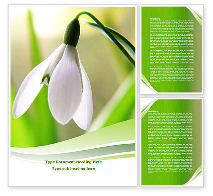 Nature & Environment: First Snowdrop Word Template #08093