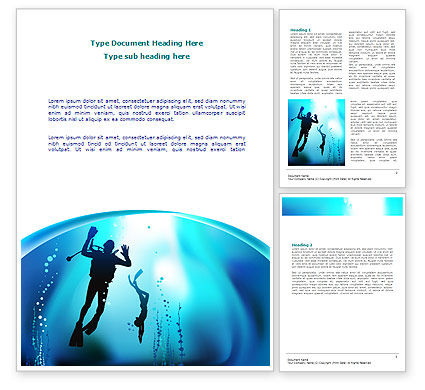 Diving Lessons Word Template, 08111, Sports — PoweredTemplate.com