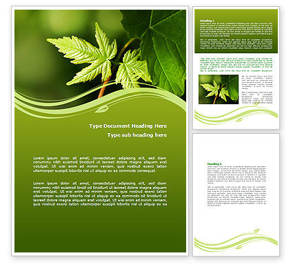 Forest Leaf Word Template, 08128, Nature & Environment — PoweredTemplate.com