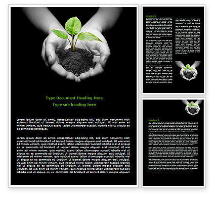 Agriculture and Animals: Sprout In Hands Word Template #08162