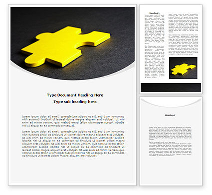 Yellow Jigsaw On A Dark Gray Surface Word Template, 08165, Consulting — PoweredTemplate.com
