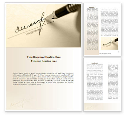 Business: Signature In A Sepia Word Template #08184