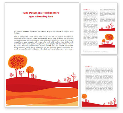 Orange Autumn Illustration Word Template
