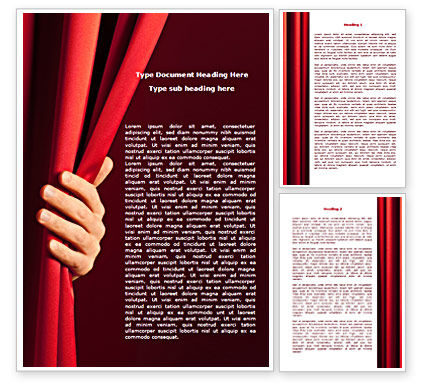 Art & Entertainment: Red Curtain Word Template #08202