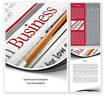Business Newspaper Word Template, 08203, Business — PoweredTemplate.com