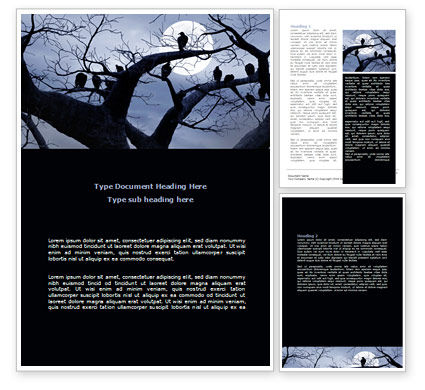 Nature & Environment: Moonlit Tree Word Template #08204
