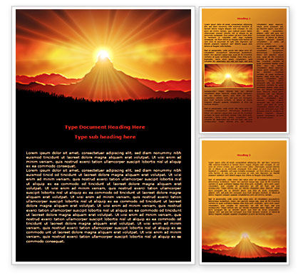 Sunrise In Mountains Word Template 08216 | Poweredtemplate.Com