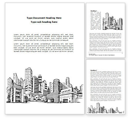 City Architecture Sketch Word Template, 08228, Construction — PoweredTemplate.com