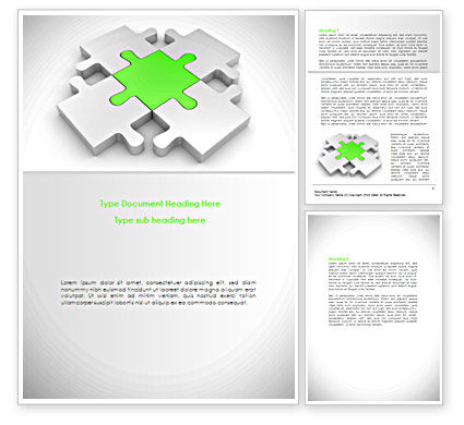Green Center Jigsaw Word Template
