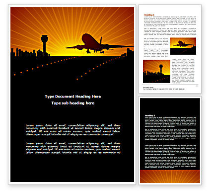 Airplane Landing Word Template, 08251, Cars/Transportation — PoweredTemplate.com