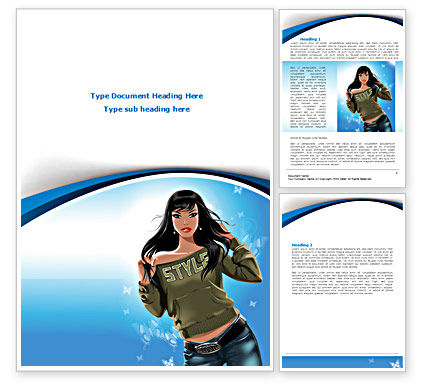 Stylish Girl Word Template, 08265, Careers/Industry U2014 PoweredTemplate.com  Free Word Templates