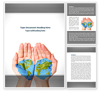 Two Hemispheres Word Template, 08274, Nature & Environment — PoweredTemplate.com