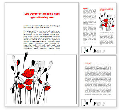 Art & Entertainment: Stylized Poppies Word Template #08283