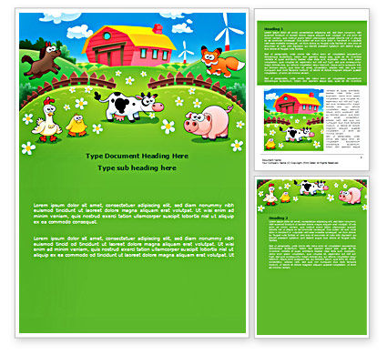 Education & Training: Funny Farm Word Template #08286