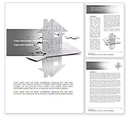 Construction: Gray Puzzle House Word Template #08291