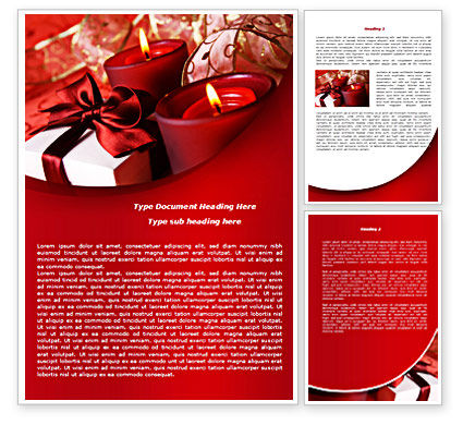 Holiday/Special Occasion: Red Christmas Candles Word Template #08295
