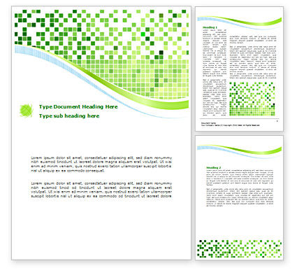 Green Mosaic Word Template, 08300, Technology, Science & Computers — PoweredTemplate.com
