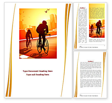 Bicycle Racing In Sunset Word Template, 08301, Sports — PoweredTemplate.com