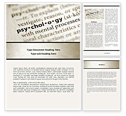 Definition Of Psychology Word Template, 08310, Technology, Science & Computers — PoweredTemplate.com