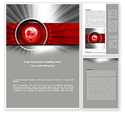 Red Globe Theme Word Template, 08312, Global — PoweredTemplate.com