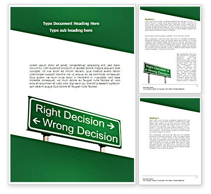 Right Decision Sign Word Template, 08313, Consulting — PoweredTemplate.com