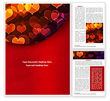 Holiday/Special Occasion: Heart Shaped Lights Word Template #08324