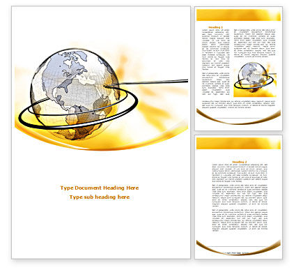 Yellow Globe Word Template, 08345, Global — PoweredTemplate.com