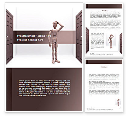 Two Doors Word Template, 08357, Consulting — PoweredTemplate.com