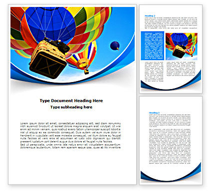 Colorful Air Balloons Word Template, 08358, Cars/Transportation — PoweredTemplate.com