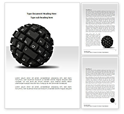 Technology, Science & Computers: Keyboard Ball Word Template #08366