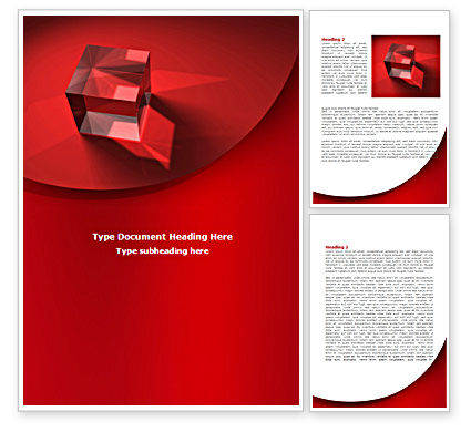 Red Crystal Cube Word Template, 08372, Business — PoweredTemplate.com