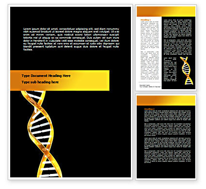 Gold DNA String Word Template, 08385, Medical — PoweredTemplate.com