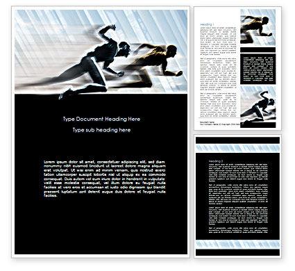 Running Athletes Word Template, 08386, Sports — PoweredTemplate.com