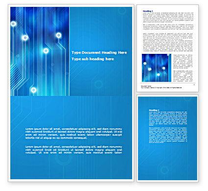 Blue Circuit Word Template, 08400, Technology, Science & Computers — PoweredTemplate.com
