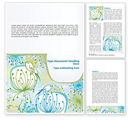 Flowers and Birds Word Template