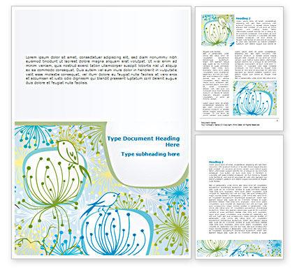 Flowers and Birds Word Template, 08401, Nature & Environment — PoweredTemplate.com