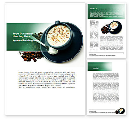Coffee Cup With Coffee Beans Around Word Template, 08402, Food & Beverage — PoweredTemplate.com