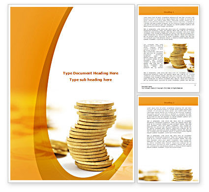 Financial/Accounting: Coin Stack Word Template #08410