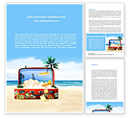 Vacation Suitcase Word Template, 08412, Careers/Industry — PoweredTemplate.com