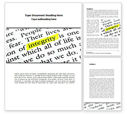 Integrity Business Word Template, 08436, Business Concepts — PoweredTemplate.com