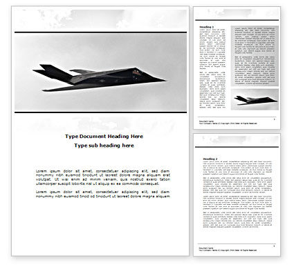 Nighthawk Stealth Word Template, 08452, Military — PoweredTemplate.com