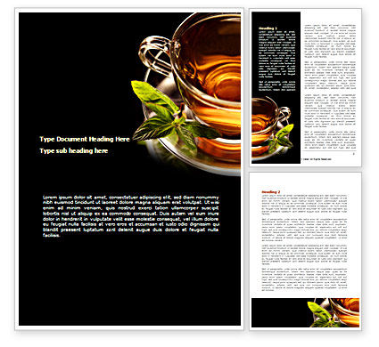 Mint Tea Word Template, 08453, Food & Beverage — PoweredTemplate.com