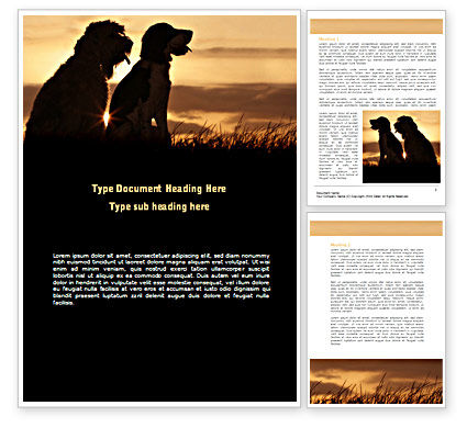 Dog Couple Word Template, 08454, Agriculture and Animals — PoweredTemplate.com