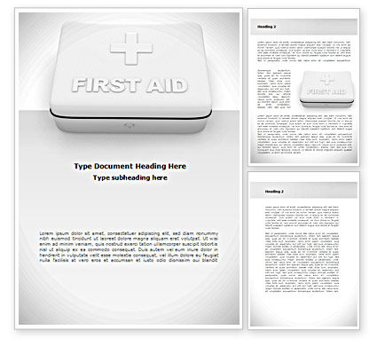 Medical: First Aid Box Word Template #08473