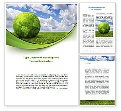 Green Globe Word Template, 08493, Nature & Environment — PoweredTemplate.com