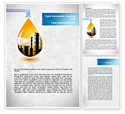Oil Plant Word Template, 08497, Utilities/Industrial — PoweredTemplate.com