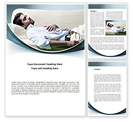 Medical: Napping Man Word Template #08500