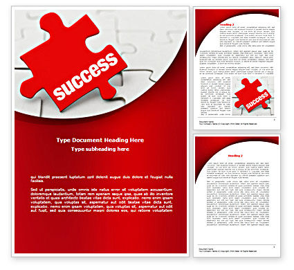 Business Concepts: Success Puzzle Word Template #08514