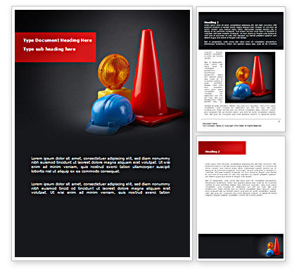 Roadworks Word Template, 08538, Construction — PoweredTemplate.com
