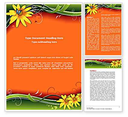 Floral Ornaments Word Template, 08555, Holiday/Special Occasion — PoweredTemplate.com